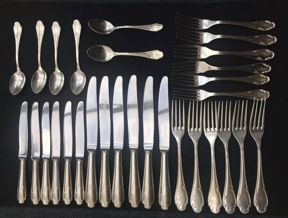 Christofle Flatware  Cutlery set for 6 Silver plated Cutlery set French Vintage wedding gift luxury table forks dinner