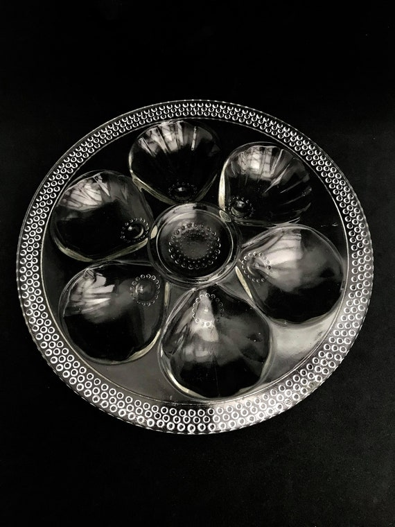 Glass Oyster plate French  Vintage clear glass beads decor rare collection oysters dish Mid Century wedding gift transparent glass plate