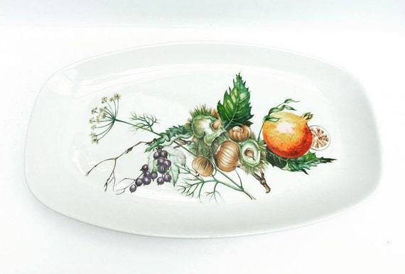 Villeroy and Boch , Oval Serving Plate with Fruits and Nuts Pattern Villeroy and Boch Earthenware, China replacement, Discontinued China