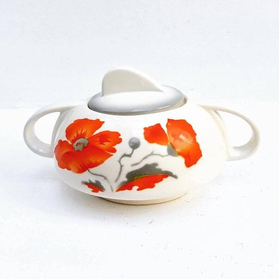 Ges Gesch German, Germany Vintage  Sugar Bowl, 1050/1 Ges Gesch Floral Flowers, Vintage Porcelain, Mid Century, China  Replacement ,