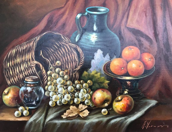 Original painting still life art oil in canvas fruits Rustic fall colors signed French Vintage wall hanging art grapes apples kitchen