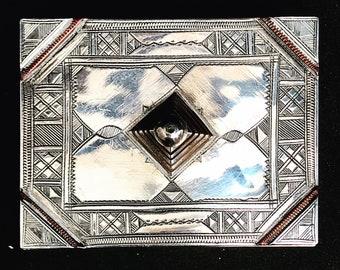 African Touareg box Silver Tribal Ethnic  Berber Nomadic  Traditionalart Authentic Handmade  Sahara decor  Gift box collector ring