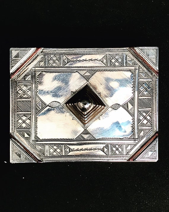 African Touareg box Silver Tribal Ethnic  Berber Nomadic  Traditionalart Authentic Handmade  Sahara decor  Gift box collector ring