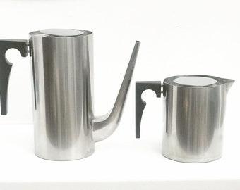 Arne Jacobsen Original Vintage Cylinda Line Coffee Pot Stelton and Vintage Original Arne Jacobsen Stelton Milk Jug  Danish Design