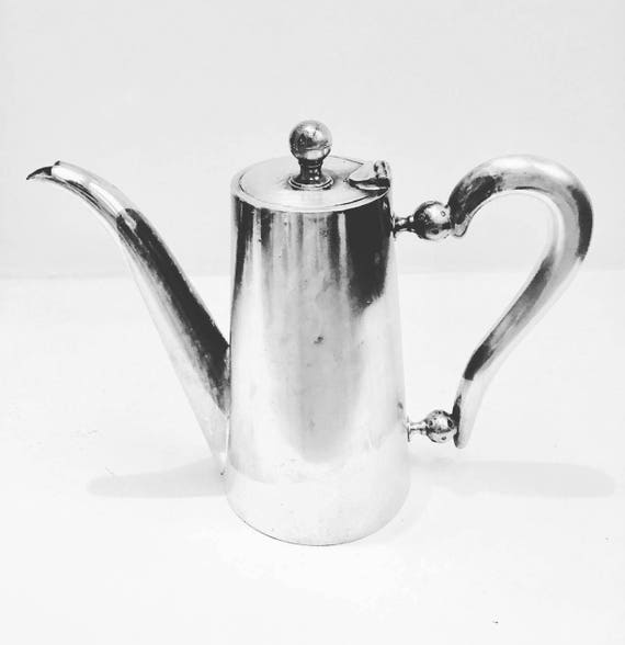 Vintage Coffee pot hotel Silver Plated  Vintage  Made in Belgiqe Mid Century modern, MCM, marked H. Botte  Fils.