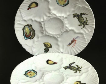 French Oyster Plate Vintage Oyster Set 2 Platter 1980s oysters dish oysters, shellfish seafood France Seaside wall decor kitchen beach home
