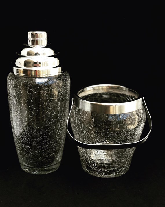 Vintage Cocktail Shaker and ice bucket  Stainless Steel and crystal extra large Bar Accessories Mid Century Martini  cocktail mixing glass