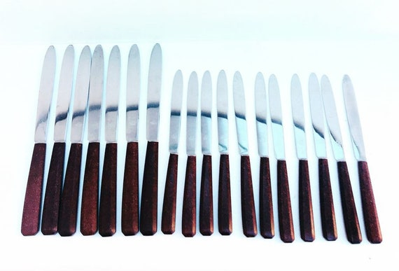 Dinner knife set, dessert fruits cheese entree knives cutlery set, mid century brown set of 18 French table MCM Vintage retro table 1960s
