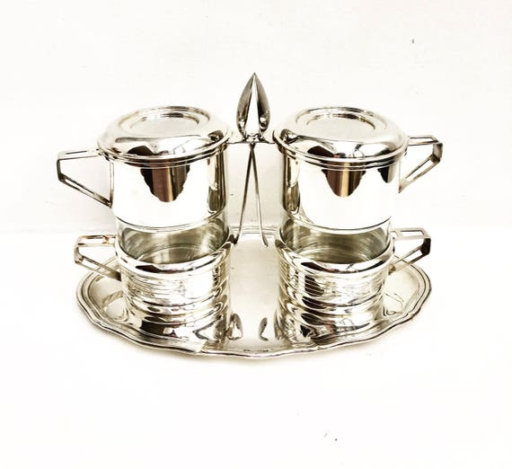 French Vintage Coffee Makers Art Deco Single Cup Coffee filter french coffee Filter percolato drip Silver Plated French Drip O Lator