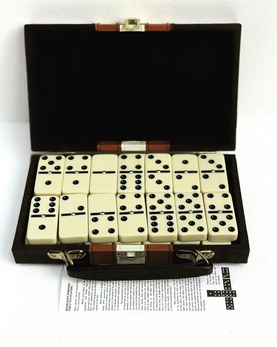 Vintage Dominoes travel Case, Table Game Set, Brown Case, Portable, Travel Game Set, Family Table Game, Gift for Him, gift for family