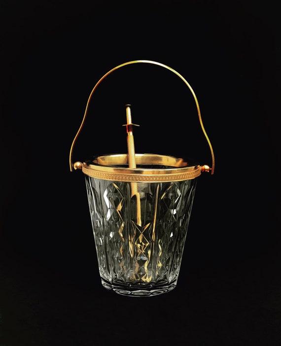 Ice Bucket Val Saint Lambert heavy cut crystal with golden metal handles Mid Century barware  Mixology tools bar cart Hollywood Regency