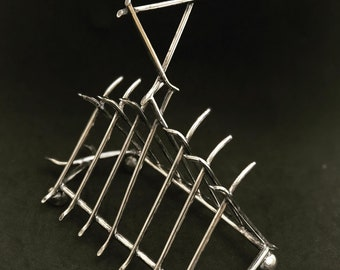 Antique Toast rack holder 6 slices Silver Plated James Dixon and Sons Breakfast English Victorian wedding gift hostess gift