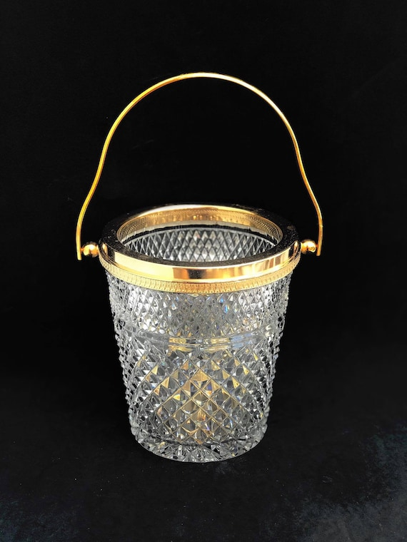 Ice Bucket heavy cut crystal with golden metal handles Mid Century barware  Mixology tools