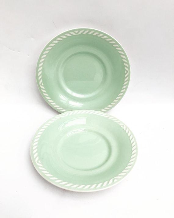 Figgjo Flint saucers Sissel 17,5 cm Mint green Vintage 1950s Designed by Ragnar Grimsrud Scandinavian Design Norway Mid Century replacement