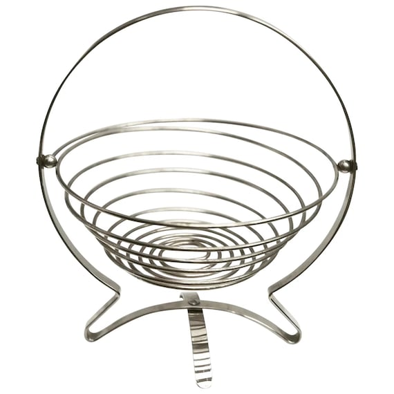 Modern Fruit Bowl Large Industrial Fruit Display Basket, Centerpiece Modern Design - Stainless Steel