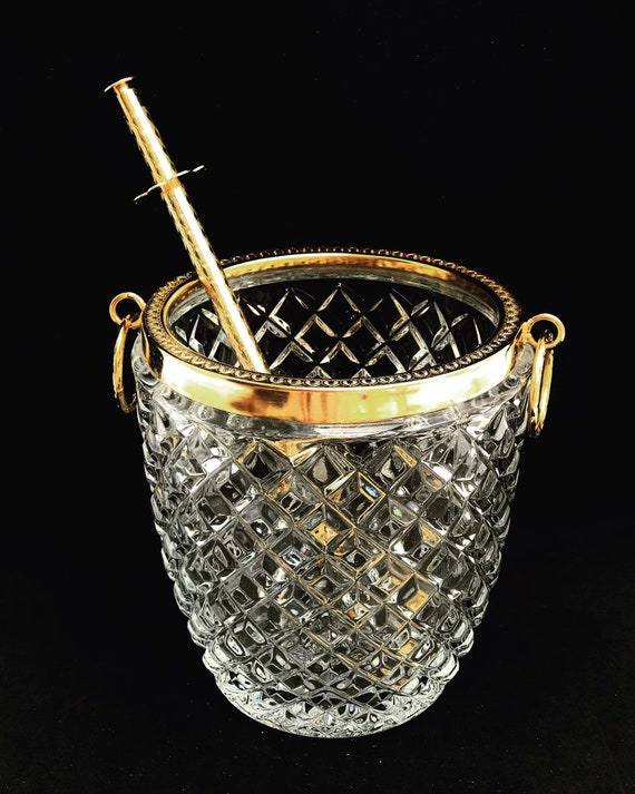 Ice Bucket heavy cut crystal Molded  with  tongs and handles Mid Century  Retro Bar Accessories, MCM gift for him bar cart decor