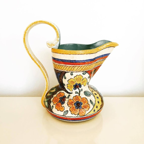 Large Pitcher Gouda Holland, Armand,  Floral Pitcher Signed, Dutch pottery, mid century, mid century pottery, Dutch Pottery