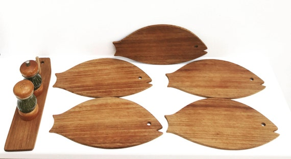 Vintage Cutting Boards Wood Serving Board Kitchen decor 5 Tasting Boards Set Fish shaped  Cheese Boards barbecue accessoires, gift for him
