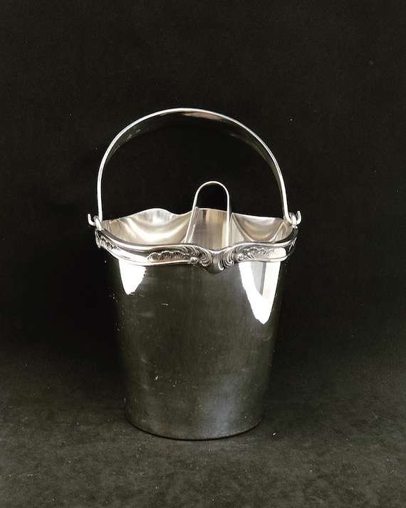 Ice Bucket Silver Plated Sivar 1920s Bar Cart Decor Christmas Table wine chiller cooler Gift for Wedding Gift man cave