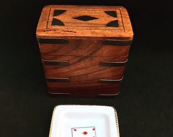 Vintage playing cards wooden box Bridge Set Canasta Set with two Decks of Playing Cards Poker card Box great mom gift Player games gift