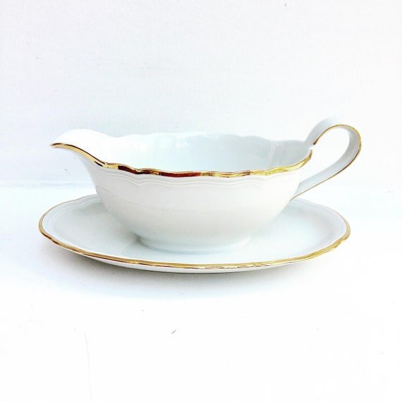 Gravy Boat Vintage Marie Luise Seltmann Weiden White Gold Bavaria Porcelain Mid Century German Porcelain Sauce Boat China Replacement