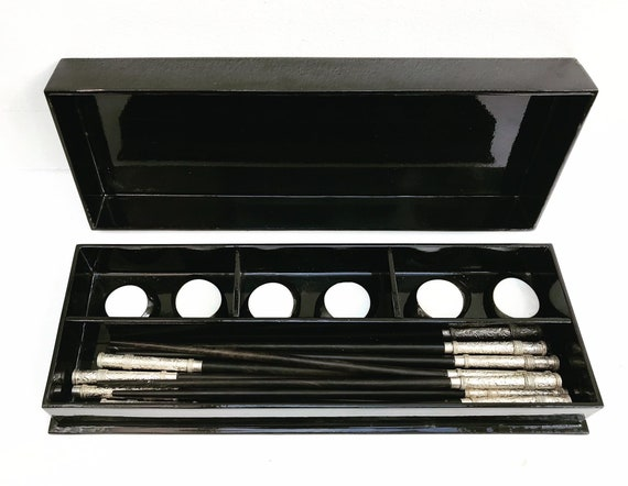 Chopsticks Vintage Rosewood lacquered box silver plated mother of pearl chopsticks holders cutlery rests gift for her hostess lacquer box