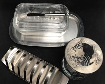 Breakfast set butter dish with lid toast rack holder jam jar jely pot family table gift glass pewter stainless steel hostess gift