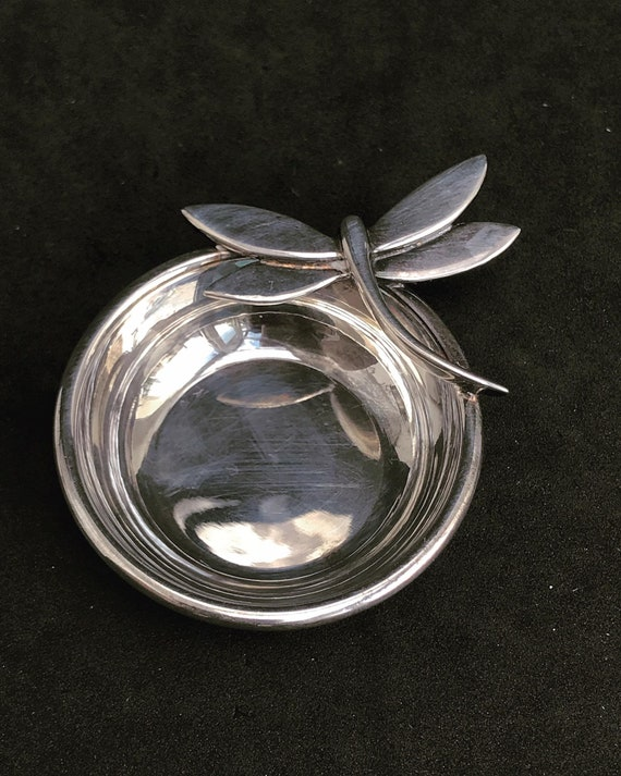 Van Cleef and Arpels Vintage Little sterling silver bowl with dragonfly wedding ring dish gift for her gift for girl