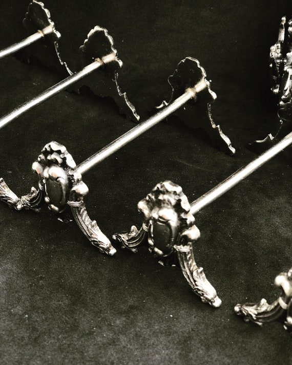 Knife Rest Set 12  Antique Silver Plated 1930s Vintage Silver Plated Knife Holders  cutlery holders Elegant table wedding gift knifeholder