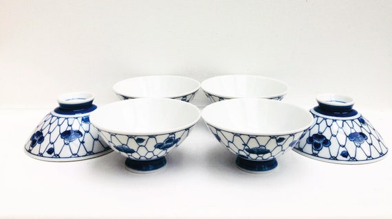 Blue and white Bowls Chinese blue and white porcelain footed bowls White and Blue - Chinese Chinoiserie Vintage Asian Bowl Set Rice Bowls