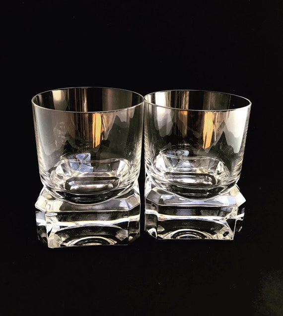 Whisky Glass set of 2 Villeroy and Boch  heavy Cristal Cut Scotch Drink Glasses Whisky Bourbon Vintage gift for him dad gift boss bar cart