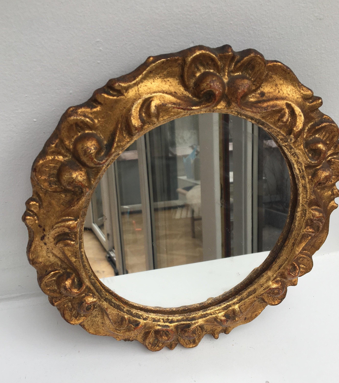 Vintage Round Gold Mirror, French Vintage Gilt Mirror ...