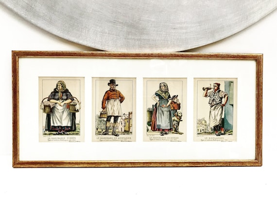 Framed art engraved colored prints by J. Chirar 1835 old costumes and jobs wall art decor original art signed framed engraved illustrations