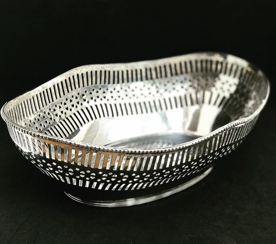 Bread Basket Large Serving Tray Fruits serving plate silver plated XIX Century French Antique Vintage Table Gift for her wedding gift