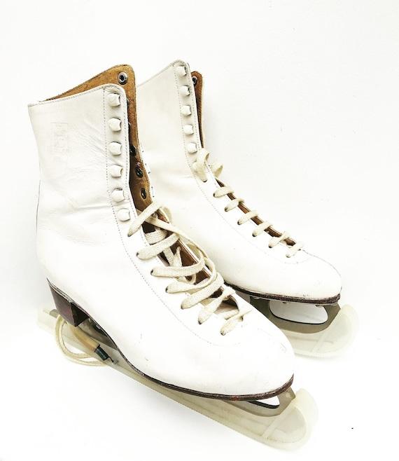 Vintage women ice skates white leather size 4 1/2 - 37,5 shoes artistic skating wall decor