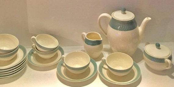 Vintage tea set, teapot cups, East Germany Steingut Colditz, 18 pieces set tea  or coffee, porcelain, ceramic vintage German porcelain 60s