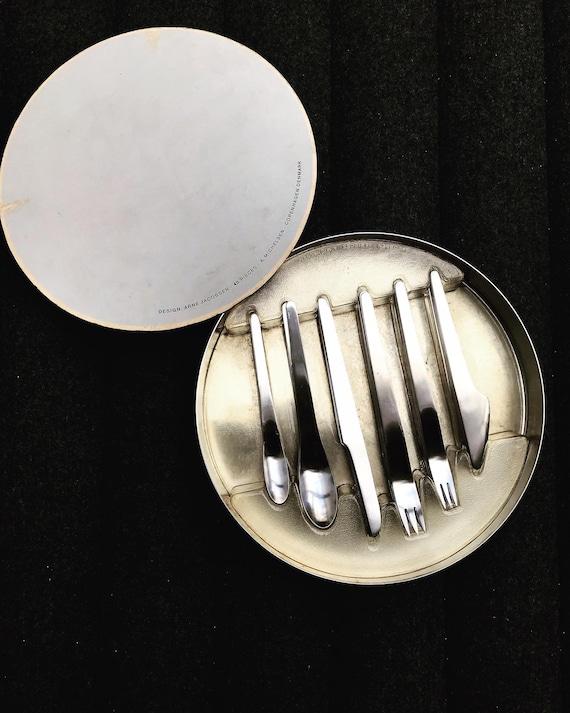 Arne Jacobsen Flatware Set by Michelsen Mid Century Modernist Minimalist  Vintage 1958 Satined Stainless steel Danish design wedding gift