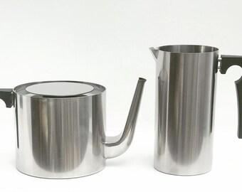 Arne Jacobsen Original Vintage Cylinda Line Teapot Stelton and Vintage Original Arne Jacobsen Stelton Milk Jug  Danish Design