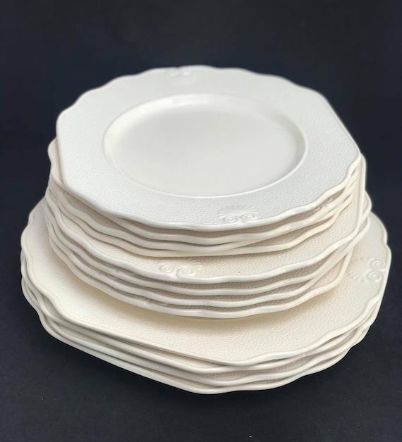 Dinnerware set 12 pieces Vintage Genevieve Lethu Pattern Hortense  Set  for 4 French Porcelain Wedding gift Cream Table decor