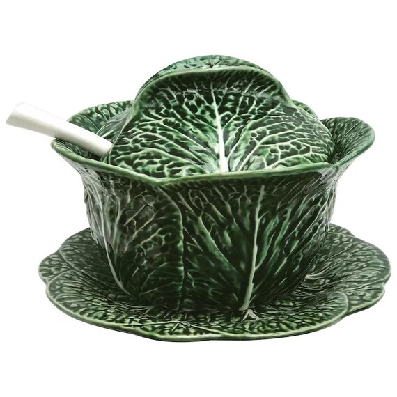 Vintage soup tureen,Large  green cabbage leaf, with lid, dish and ladle, Portugaise Pottery  Majolique green barbotine gift for her wedding