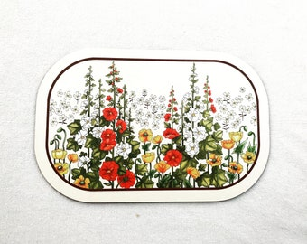 Melamine board Vintage 70s chopping Vintage 70s St Michael Double Sided Melamine Covered Flowers Floral Cottage Cabin Decor Retro Kitchen