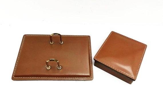 Office accessories topdesk decor desk organizer leather caramel Leather Perpetual Calendar index cards Pad Holder Porte Bloc Éphéméride