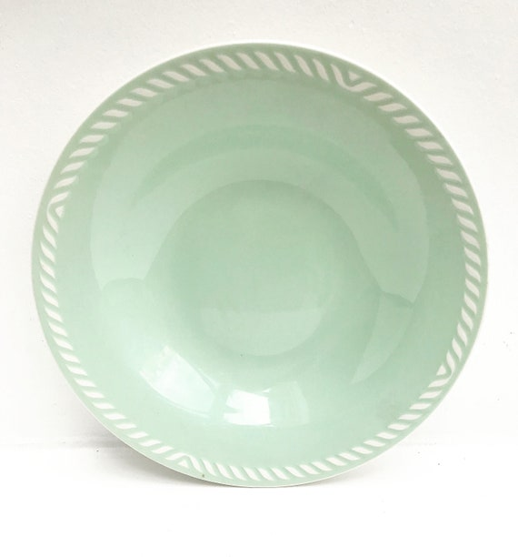 Figgjo Flint Soup Pasta plate 22 cm Sissel Mint green Set 4 Vintage 1950s Designed Ragnar Grimsrud Scandinavian Design Norway Mid Century