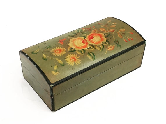 Stamp box Vintage wooden triple postage stamps desk accessory Stamp Holder flowers hand painted  guft for her 30s decor topdesk