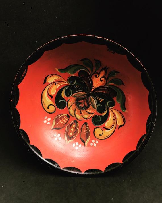 Vintage Rosemaling basket Norwegian Nordic Hand Painted Rosemaled Pedestal  Norway Folk Art fruit  Scandinavian Folklore Art tray Plate