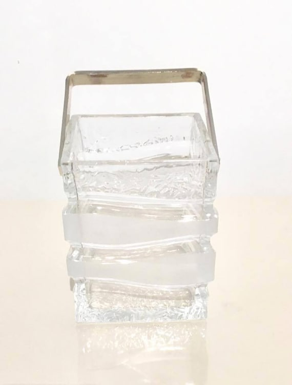 Ice bucket, Mid Century, glass and silver plated handle. Square. Made in Germany.