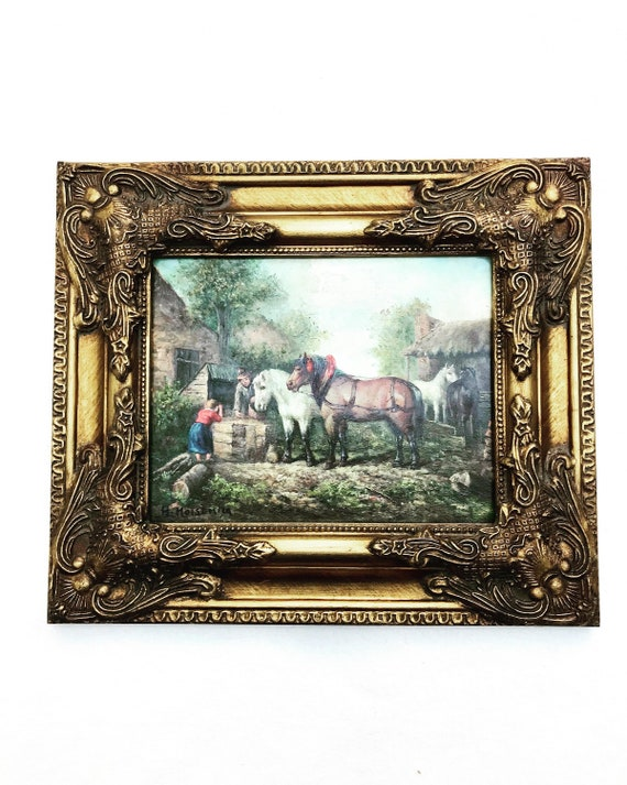Equestrian Scene Oil Painting with golden wooden frame, horse art country landscape original signed Vintage gift for him office decor