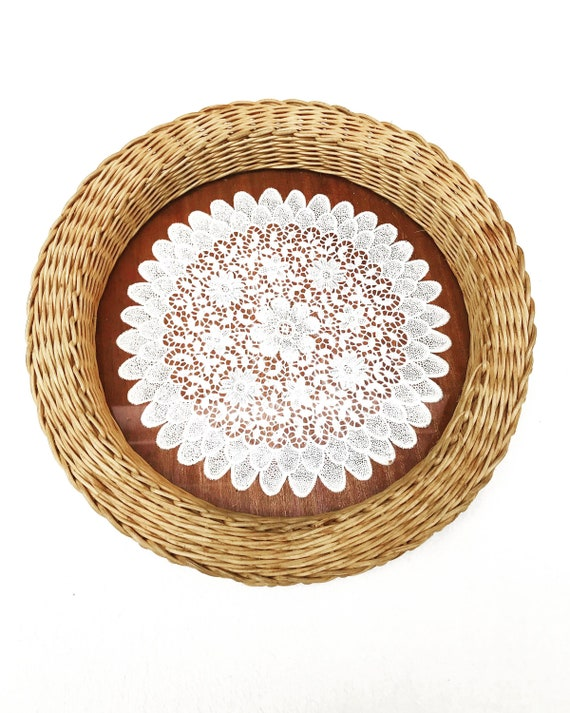 Rattan tray round Boho bar vanity bamboo Vintage large wicker tray with handles  brown beige tray boho chic bohemian decor accessories