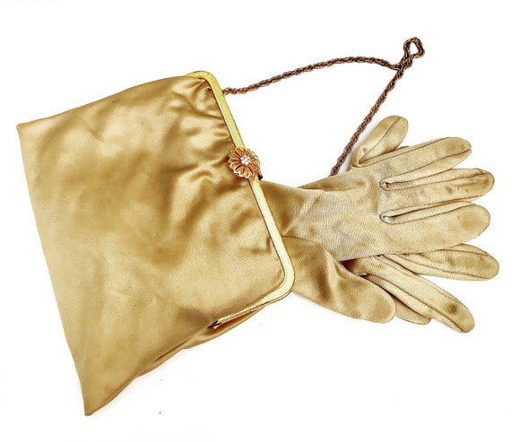 Handbag gloves Evening bag with matching long gloves beige and gold purse retro fashion accessories for vintage wedding Small Clutch Bag
