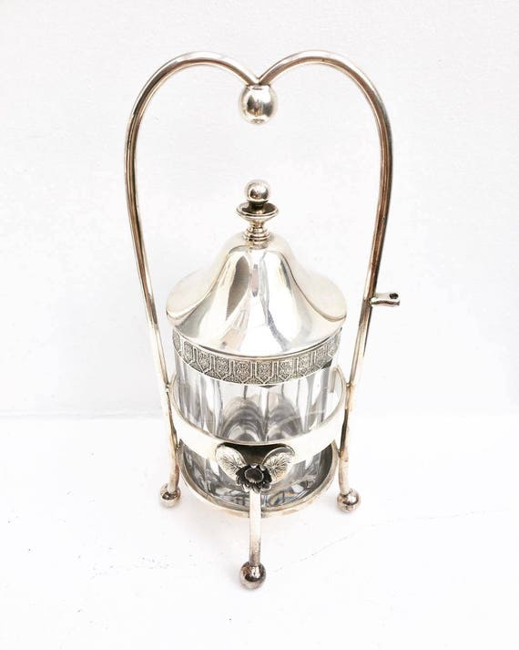 Victorian, Silver Plated Pickle Castor, Reed & Barton,  Victorian , Etched Glass Insert, Silver Pln Pickle Castor, Antique Pickle Castor
